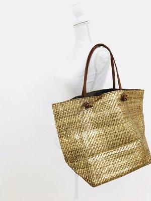 Toller Shopper von Zara in gold geflochten, gold - braun