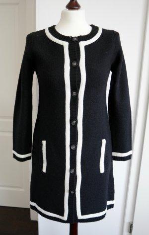 Zara Manteau en tricot noir-blanc laine