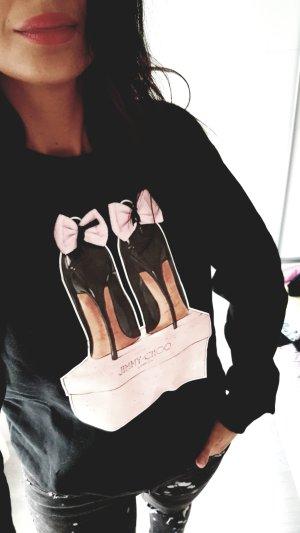 Sweatshirt zwart-rosé