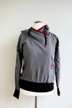 Hooded Sweater grey-red cotton