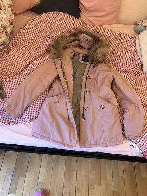 Manteau à capuche vieux rose