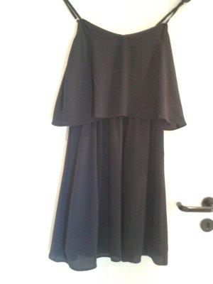 tolles angesagtes Blogger Basic Kleid Kleidchen Sommer Strand Abend Cocktail in dunkelblau oben mit Volant