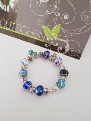 Braccialetto sottile argento-blu