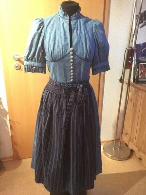 Tolles blaues Vintage Dirndl mit Ärmeln
