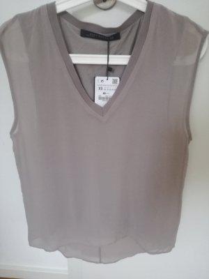 Tolles Blusen/-top von Zara woman in beige/grau- Gr.XS in Lagenoptik-neu!