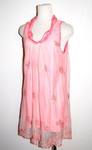 tolles Cocktailkleid - Chiffonkleid - Seide - in rosa von Made in Italy Gr. L