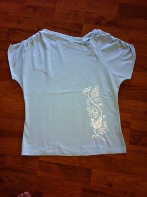 tolles Damen Shirt, mit asymetrischem Ausschnitt, Größe 38, hellblau, Neu