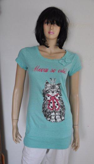 Blind Date Lang shirt turkoois Katoen