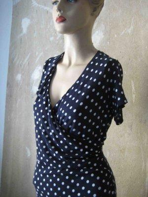Tolles Designer-Kleid von Madeleine blau mit weißen Punkten
