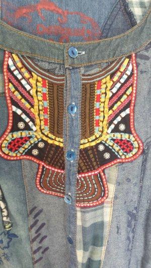 Tolles Desigual Jeanskleid Kleid Minikleid Hippiekleid Karo Boho Vintage Bunt S