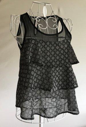 Tally Weijl Haut à volants noir-blanc tissu mixte