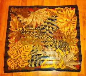 Tolles, farbiges Tuch, Halstuch mit Tigermotiv, Brauntöne, 78 x 78 cm