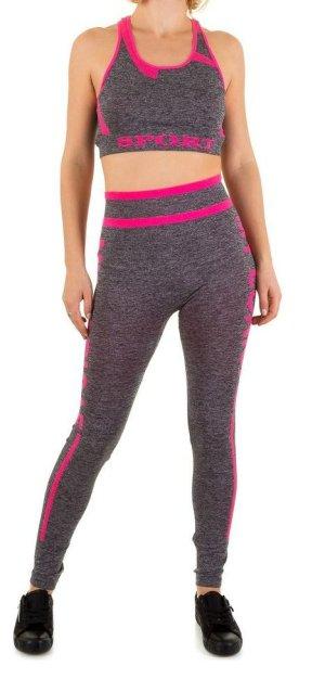 Pantalone da ginnastica grigio-fucsia neon