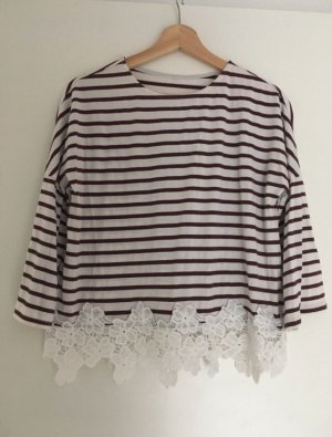 Camisa de ganchillo blanco-marrón claro