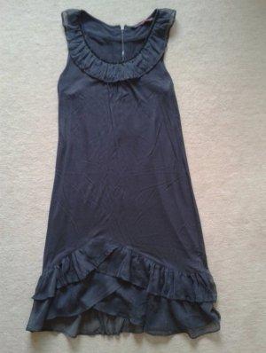 Tolles graues Kleid mit Rüschen und Pailletten von Tom Tailor denim