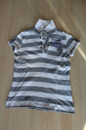 Tolles hochwertiges Poloshirt in grau-weiß