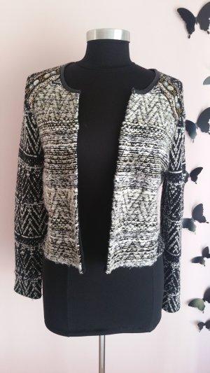 H&M Wool Jacket black-white mixture fibre