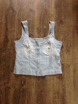 Tolles Jeans Mieder top mit Stickerei auf dem Rücken