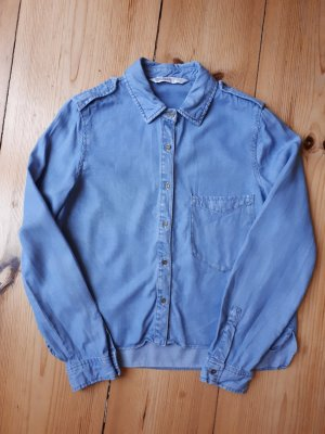 Zara Chemise en jean bleu azur-bleuet coton