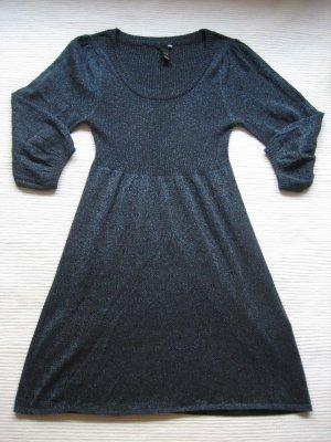 tolles kleid H&M glitzer dunkelblau gr. xs 34 strickleid