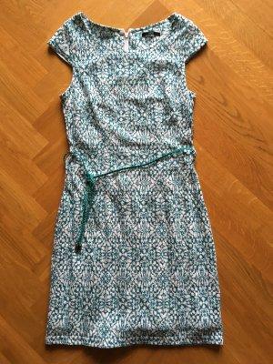 Tolles Kleid türkis-weiß gemustert in Größe 34