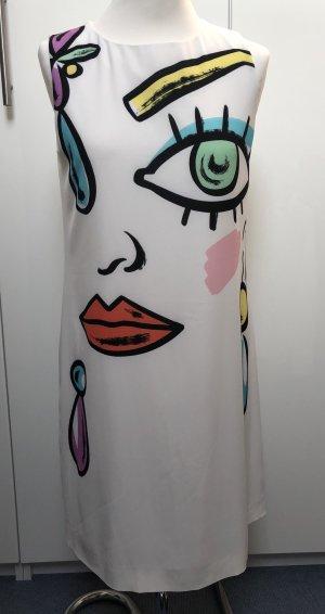 Boutique Moschino Robe trapèze blanc cassé-rouge polyester