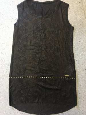 Guess Leren jurk zwart-donkerblauw