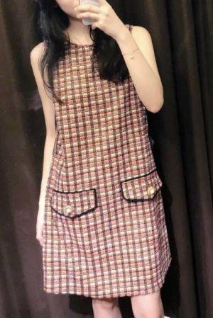 Zara Vestido línea A rojo claro-amarillo pálido