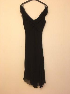 Tolles langes, schwarzes Abendkleid mit Volants