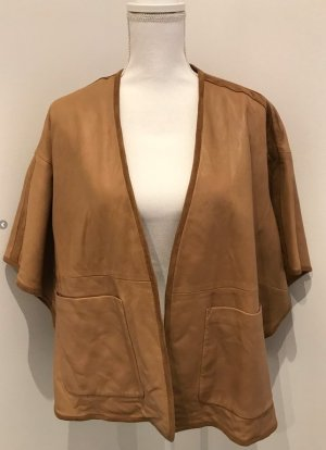 Massimo Dutti Leather Blazer sand brown leather