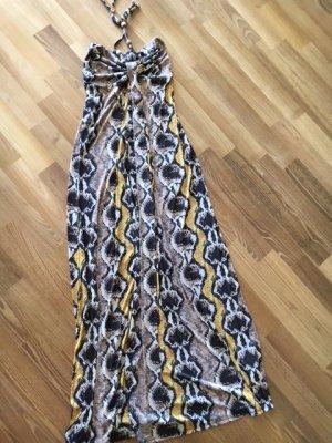 Tolles MAXI - Sommer - Kleid°beige/ braun/ gelb°Bandeau-Oberteil°hinten Gummizug°lang°Jersey°36°S°w NEU