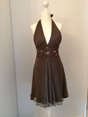 Halter Dress brown silk