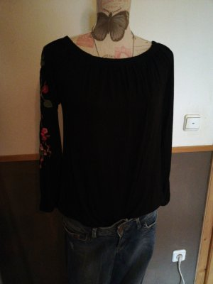 Amisu Eénschoudershirt zwart-roze