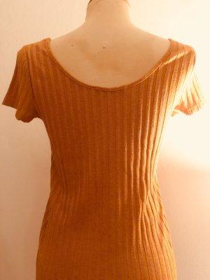 Tolles orangenes Rippshirt mit pink-metallenem Faden aus Viskose von Uterque (Größe S)