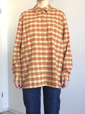 Tolles oversize kariertes Flanellhemd boyfriend Style in rot und grün auf gelb