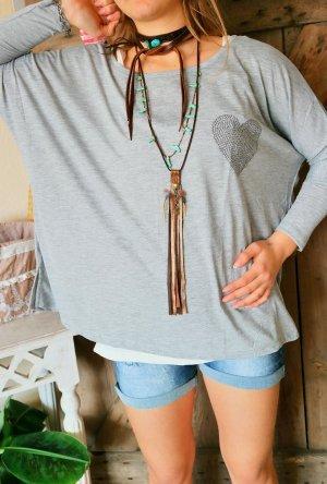 Oversized shirt lichtgrijs Gemengd weefsel