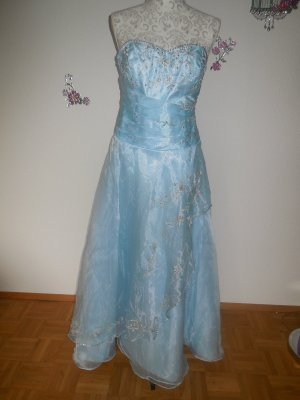 Tolles Prinzessinenkleid hellblau mit Pailletten und Blumenstickerei