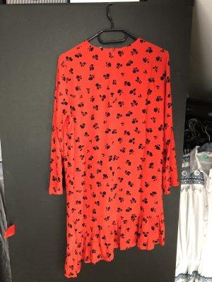Ganni Vestido estilo flounce blanco-rojo
