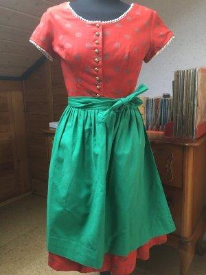 Tolles rotes Vintage Dirndl mit Ärmeln 36/38