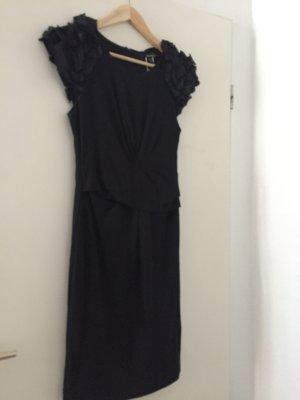 Tolles schwarzes Mango Kleid mit Schulter Detail und Raffung Gr. S