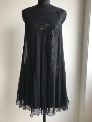 tolles Seiden-Chiffon Kleid mit Pailletten Unterkleid