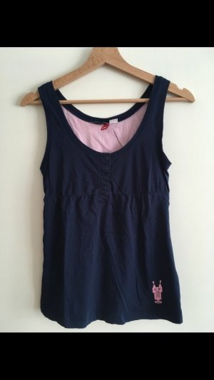 H&M Top linea A blu scuro-rosa chiaro