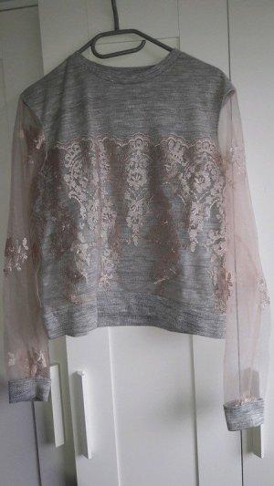 tolles shirt silber rose Gr. 38 H&M spitzenärmel