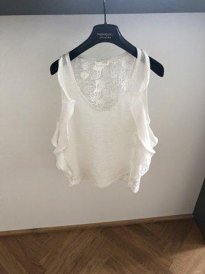 Zara Top de volantes blanco puro