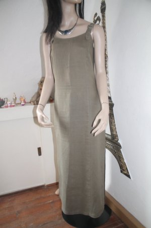 Best Connections Maxi Dress green grey-olive green linen