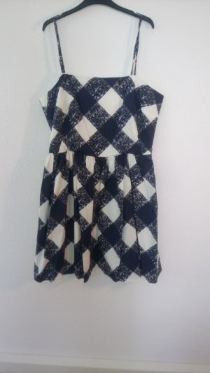 Boden A-lijn jurk wit-donkerblauw Katoen
