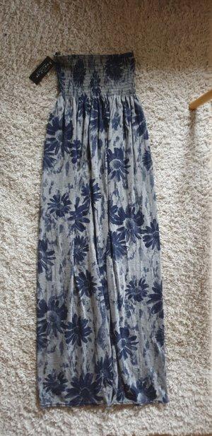 Off the shoulder jurk grijs-donkerblauw