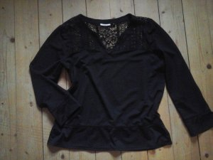 tolles Spitzen Shirt von Only schwarz Gr. L Blumenstickerei Spitze Top