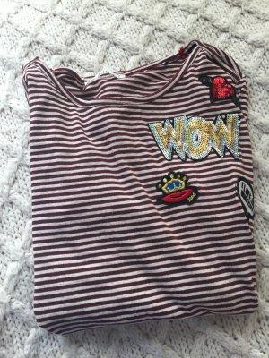 edc Gestreept shirt bordeaux-wolwit