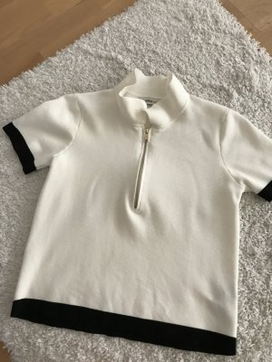 Zara Knit Gebreid shirt licht beige-zwart Viscose